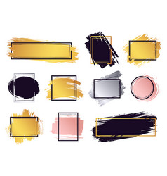 glamour ink brush frame gold frame elements vector image