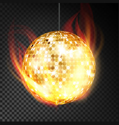 gold disco ball realistic yellow dance vector image