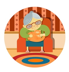 Grandmother and her cat vector image