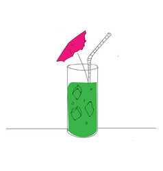 green cocktail with pink umbrella and white straw vector image