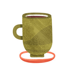 green cup with tea mug of delicious coffee hot vector image