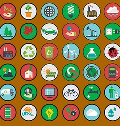 green eco icons ecology set vector image