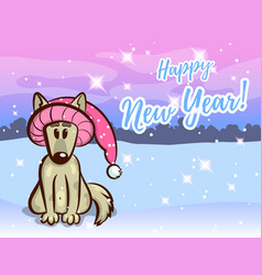 greeting card with dog in funny hat vector image