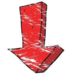 Grunge cartoon arrow pointing down vector
