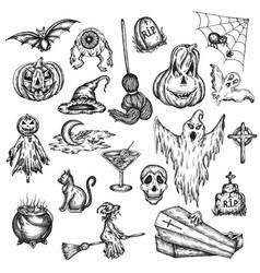 Halloween holiday cartoon horror set design vector