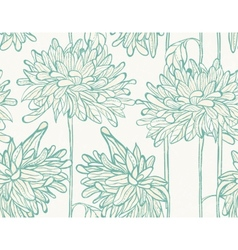 Hand drawn pattern with chrysanthemum vector