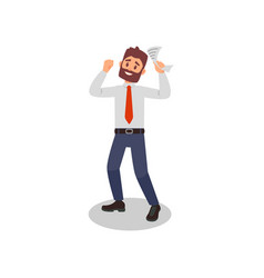 happy bearded man with paper in hand young office vector image