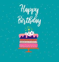 happy birthday card template with cake and vector image