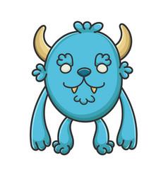 Happy furry cartoon furry creature monster vector