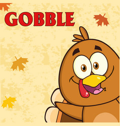 Happy turkey bird cartoon character vector