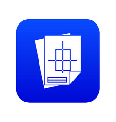 Home construction project icon digital blue vector