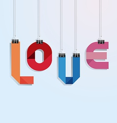 i love you paper with clip vecrot vector image