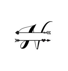 Initial n love monogram split letter isolated vector