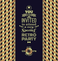Invitation to retro party Vintage retro geometric vector