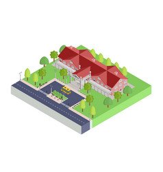 isometric icon big old school building vector image