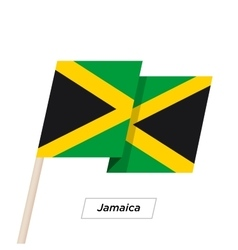 Jamaica Ribbon Waving Flag Isolated on White vector image