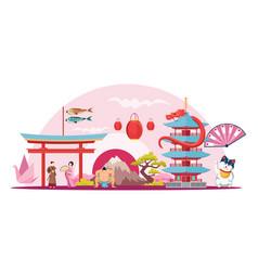 japanese symbols flat vector image