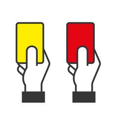 Judge hands holding red and yellow cards vector