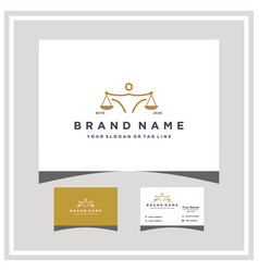 Law people logo design and business card vector