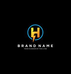 Letter h flash electrical logo design vector