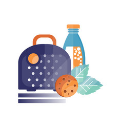 Lunch bag with coocie and bottle of juice healthy vector