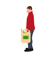 Man with food purchases flat design vector