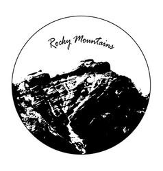 Miss cascade mountain with rocky mountains text vector