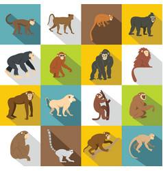 Monkey types icons set flat style vector