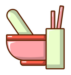 Mortar and pestle icon cartoon style vector
