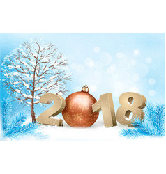 new year background with a 2018 and a gold ball vector image