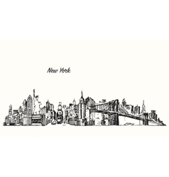 New York city skyline sketch vector