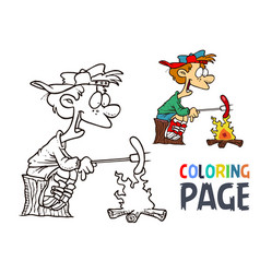 people and hot dogs cartoon coloring page vector image