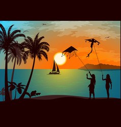 people with kites on tropical beach vector image
