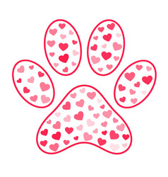 Pet paw print background with hearts for animal vector