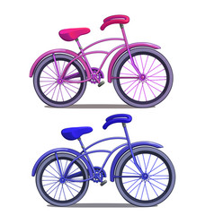 Pink and blue bicycle isolated on white background vector
