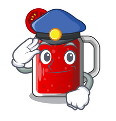 Police character beverage healthy sweet tomato vector