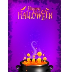 Purple Halloween poster template with orange vector image