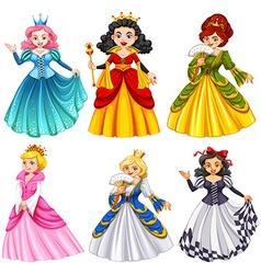 Queens in beautiful dresses vector image