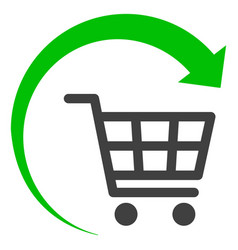 Repeat shopping cart flat icon symbol vector