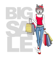 retro hipster animal girl wolf big sale hipster vector image