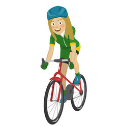 road bicycle woman riding her bike smiling vector image