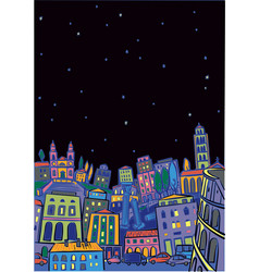 Roma in starry night vector