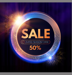 sale circle shining banner with flash effect on vector image