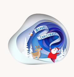 santa claus with deer on snowy hill with trees vector image