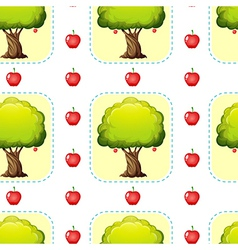 Seamless design with apples and trees vector