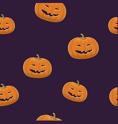 seamless pattern of grinning scary pumpkin vector image