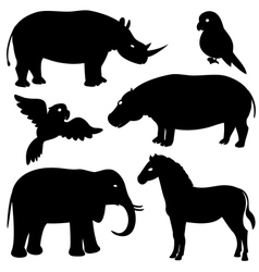set 1 african animals silhouettes vector image