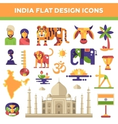 set flat design india travel icons vector image