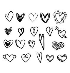 set hand-drawn hearts vector image