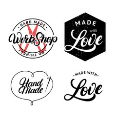 set hand made hand written lettering logo vector image